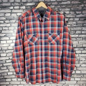Gap Factory Red Blue Chambray plaid Button Up XL